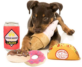FuzzYard plush food dog toys - taco, ice cream, lager, donuts