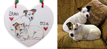 portrait personalised dog hanging plaque