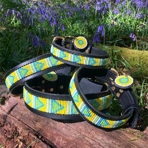 Beaded Leather Dog Collar - Malindi Yellow