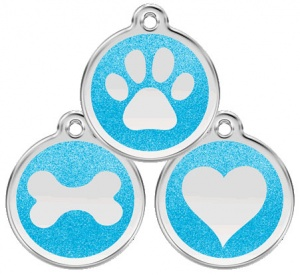 Glitter Enamel Aqua Dog Tag - Large