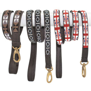 Beaded Leather Dog Lead