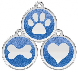Glitter Enamel Dark Blue Dog Tag - Small