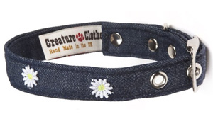 Fabric Dog Collar Denim Style With Daisies