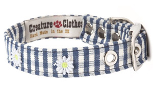 Fabric Dog Collar Blue Gingham With Daisies