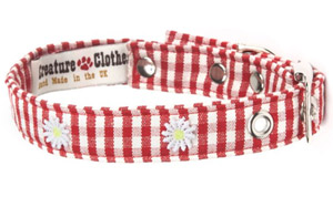 Fabric Dog Collar Red Gingham With Daisies