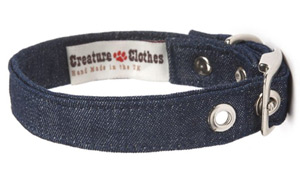 Fabric Dog Collar Denim Style