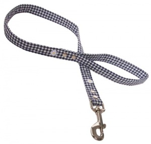 Fabric Dog Lead Blue Gingham With Daisies