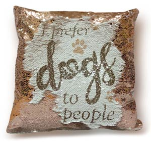 Dog Lover Sequined Cushion