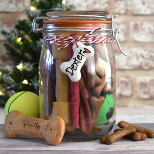 Personalised Tag Dog Treat Jar - Filled