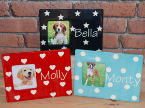 Polka Personalised Dog Photo Frame