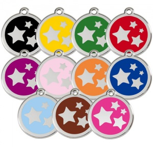 Large Dog ID Tag - Stars
