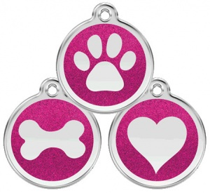 Glitter Enamel Hot Pink Dog Tag - Small