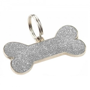 Dog ID Tag - Glitter Bone Silver