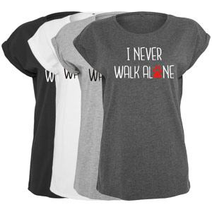 Women's Slogan Slouch Top - I Never Walk Alone
