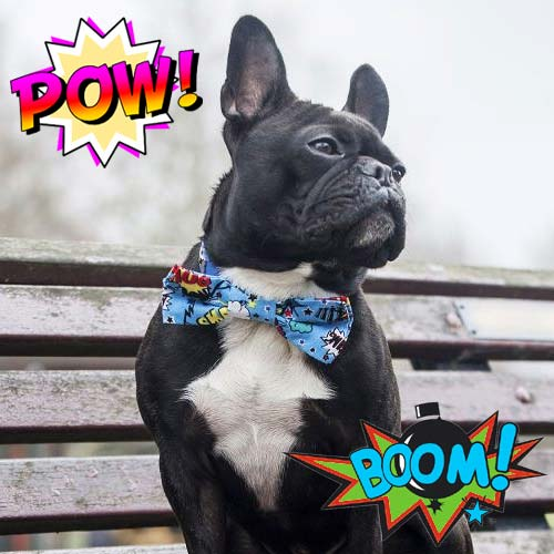 Cartoon Comic Book Dog Bow Tie in Pink or Blue | UK | D