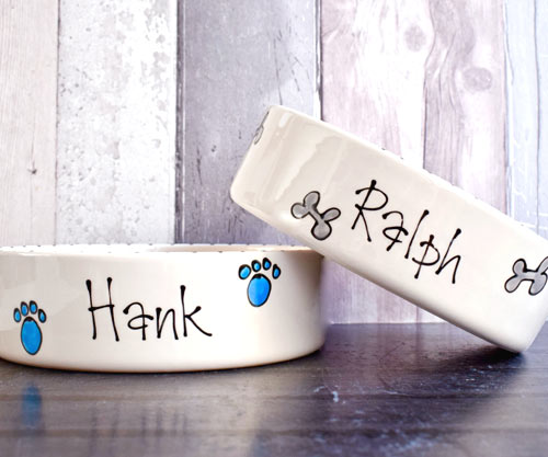 ceramic dog bowl with name whimsical straight