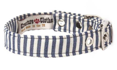 Fabric Designer Dog Collar Blue White Stripe Vegan