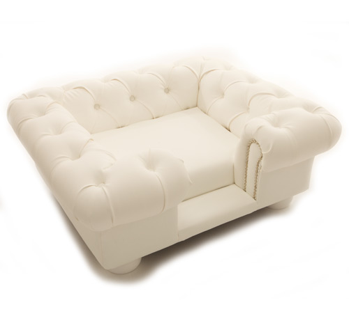 Balmoral White Faux Leather Dog Sofa Bed