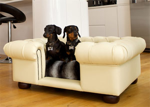 Balmoral Devon Cream Faux Leather Dog Sofa Bed