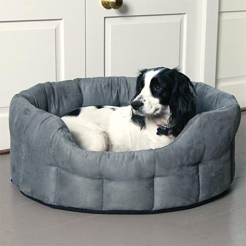 Durable Oval Faux Suede Dog Bed | Machine Washable | UK | D for Dog