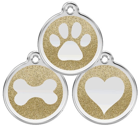 Small Gold Glitter Dog Tag Bone Heart Or Paw Design