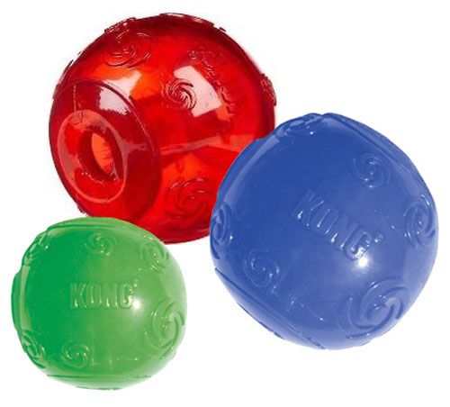 Large Dog Toys Balls : Kong squeezz dog ball durable recessed squeaker