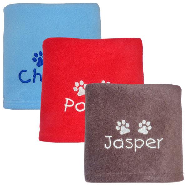 Fleece Dog Blanket Embroidered With Pet S Name Uk