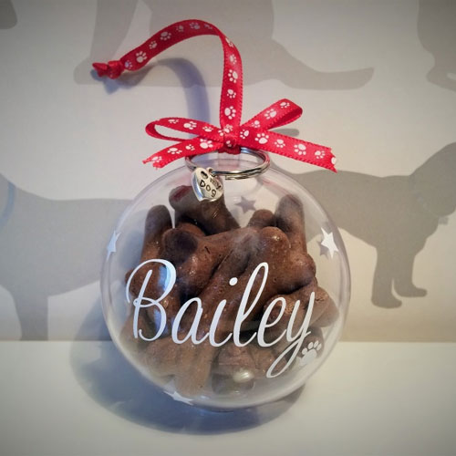 Luxury Personalised Christmas Dog Treat Bauble