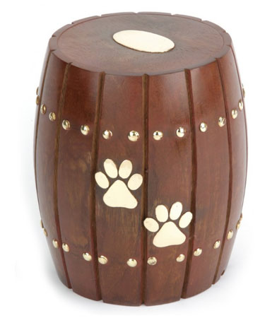 Solid Wood Barrel Pet Urn Andover Brown Barrel Dog Urn