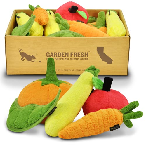 Plush Dog Toys Peapod Carrot Apple Pumpkin Zucchini