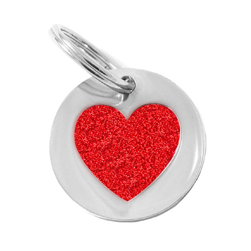 Small Dog Or Puppy Id Tag Glitter Red Heart