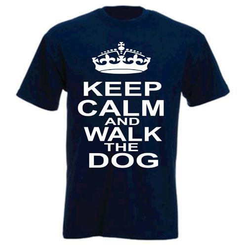 Unisex Slogan T-Shirt - Keep Calm & Walk The Dog