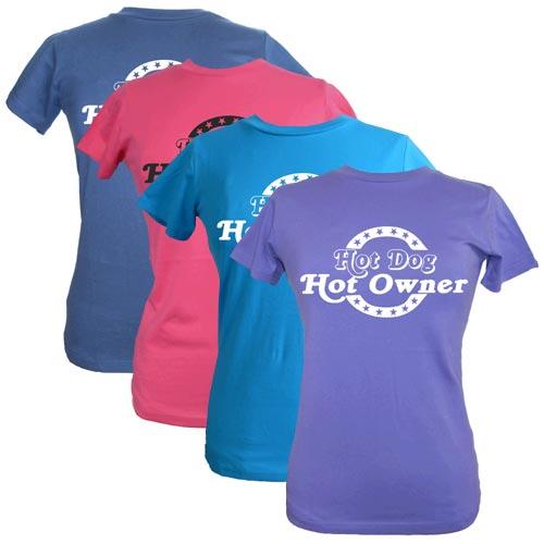 Women S T Shirt Hot Dog Hot Owner Dog Slogan T Shirts
