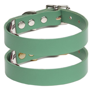 Jade Green Leather Dog Collar