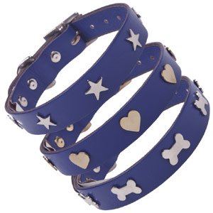 Studded Indigo Blue Leather Dog Collar