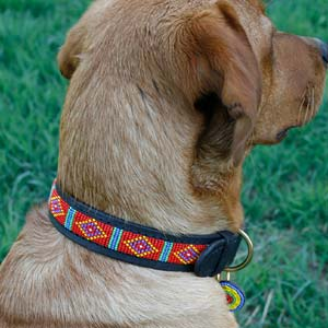 Beaded Leather Dog Collar - Mombasa Red