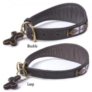 Beaded Leather Greyhound Lurcher Whippet Collars