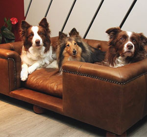 Sandringham Natural Real Leather Dog Bed