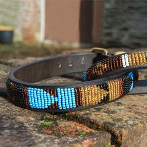 Masai Beaded Dog Collar - Sky