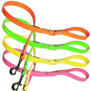 Neon Leather Dog Lead