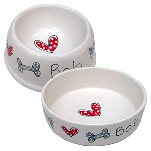 Personalised Hearts & Bones Dog Bowl