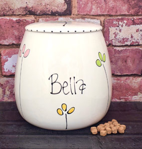 Personalised Ceramic Dog Treat Jar - Petal