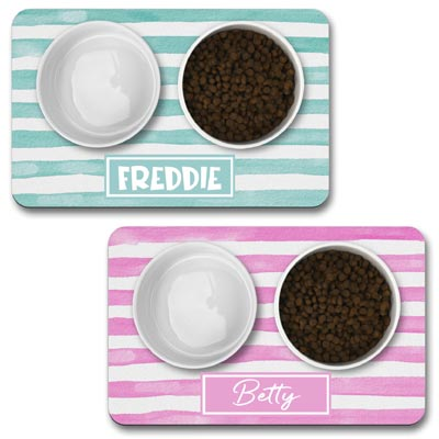 Personalised Dog Bowl Mat - Stripe