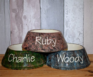 Personalised Dog Bowls - Granite Slanted