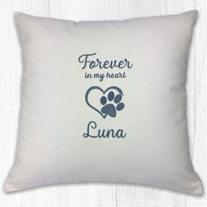 Personalised Dog Lover Cushion - Forever in my heart