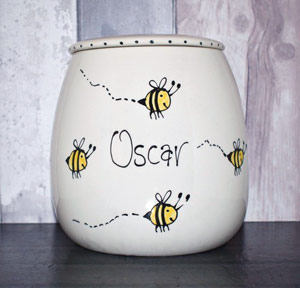 Personalised Ceramic Dog Treat Jar - Bumble Bee