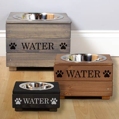 Personalised Wooden Single Dog Bowl Feeder