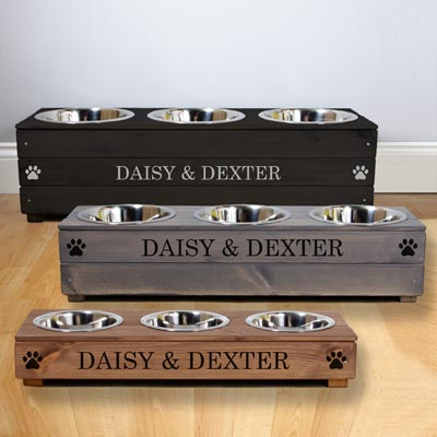 Personalised Wooden Triple Dog Bowls Feeder
