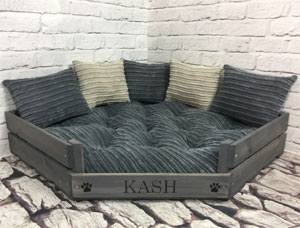 Personalised Wooden Corner Dog Bed - Grey Cord