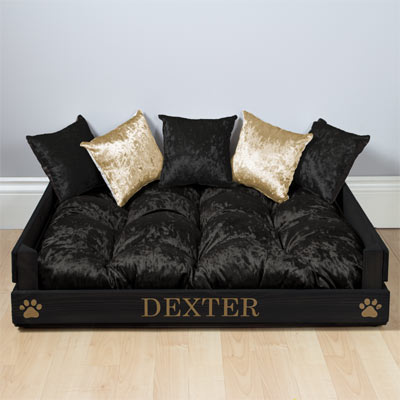 Personalised Wooden Dog Bed - Black Velvet